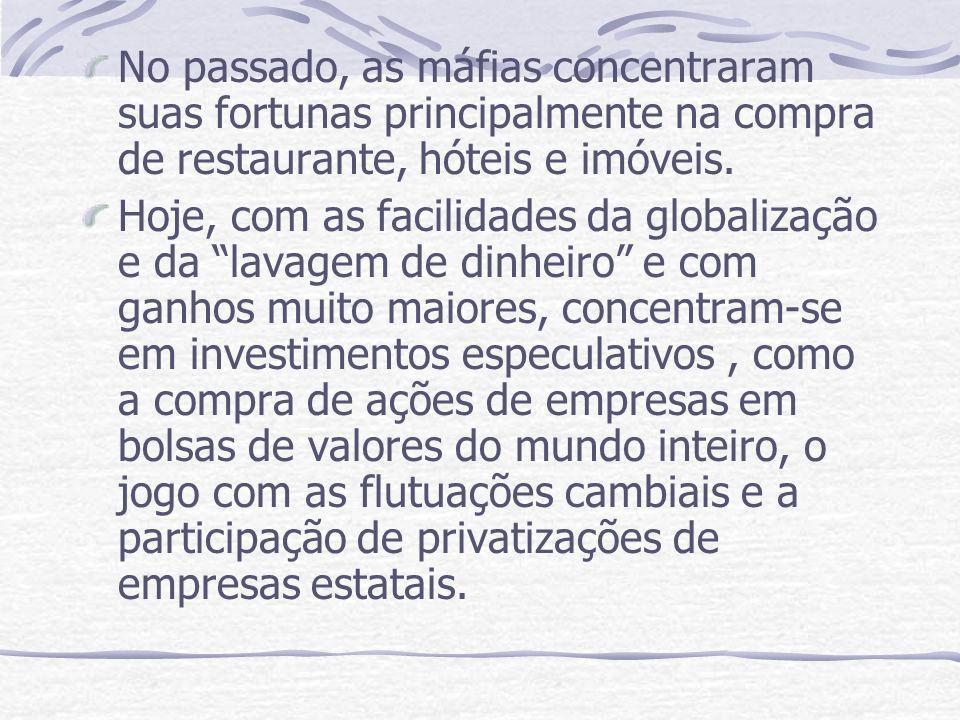 No passado, as máfias concentraram suas fortunas principalmente na compra de restaurante, hóteis e imóveis.
