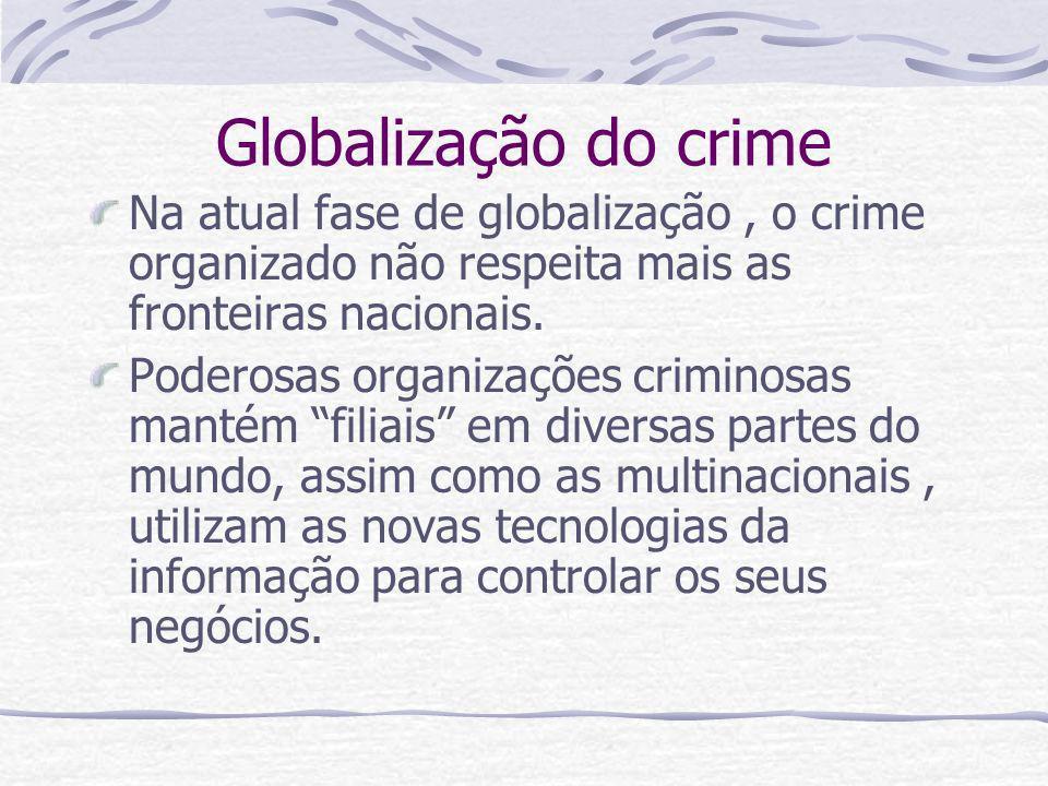 Globalização do crime Na atual fase de globalização , o crime organizado não respeita mais as fronteiras nacionais.