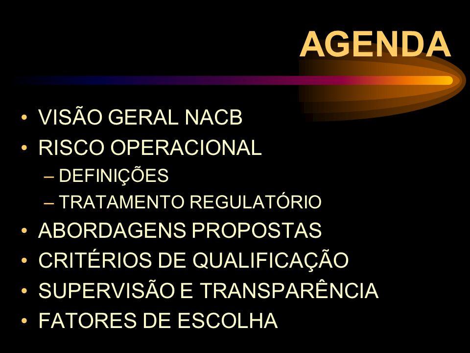 AGENDA VISÃO GERAL NACB RISCO OPERACIONAL ABORDAGENS PROPOSTAS