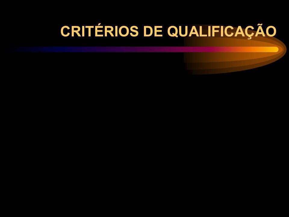 CRITÉRIOS DE QUALIFICAÇÃO