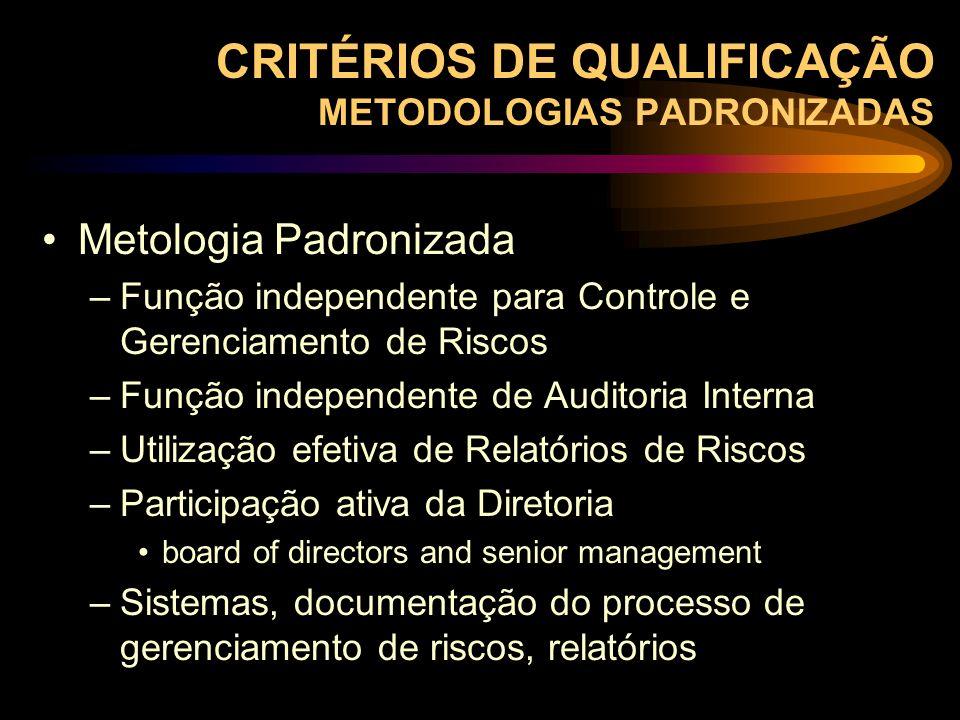 CRITÉRIOS DE QUALIFICAÇÃO METODOLOGIAS PADRONIZADAS