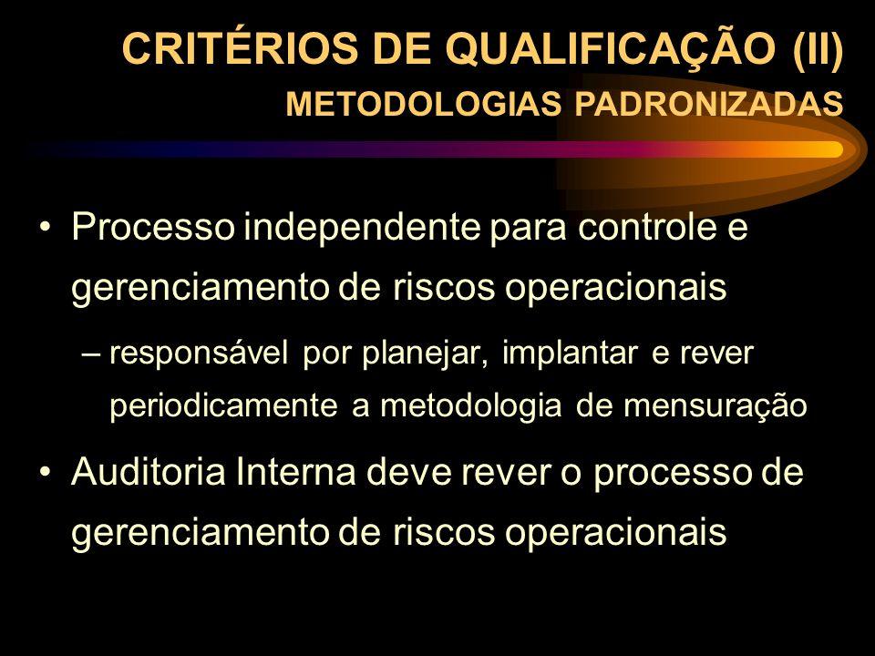 CRITÉRIOS DE QUALIFICAÇÃO (II) METODOLOGIAS PADRONIZADAS