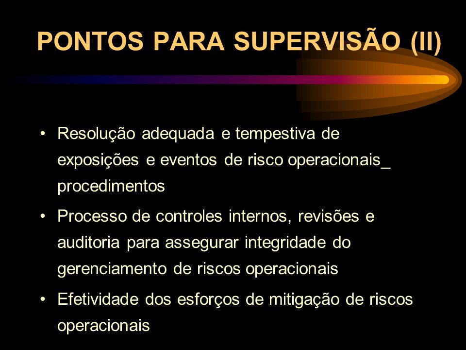 PONTOS PARA SUPERVISÃO (II)