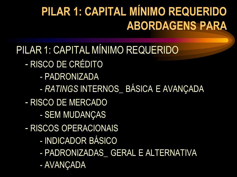 PILAR 1: CAPITAL MÍNIMO REQUERIDO ABORDAGENS PARA