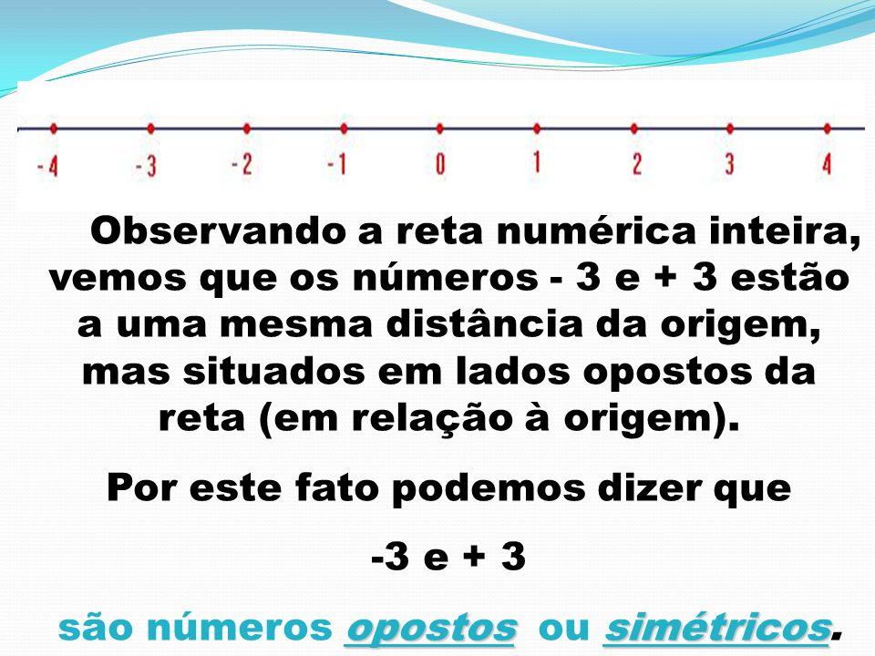 Por este fato podemos dizer que são números opostos ou simétricos.