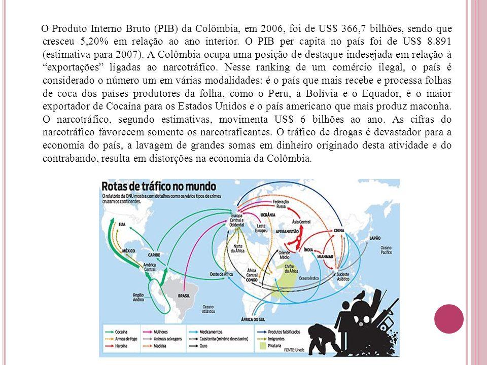 O Produto Interno Bruto (PIB) da Colômbia, em 2006, foi de US$ 366,7 bilhões, sendo que cresceu 5,20% em relação ao ano interior.