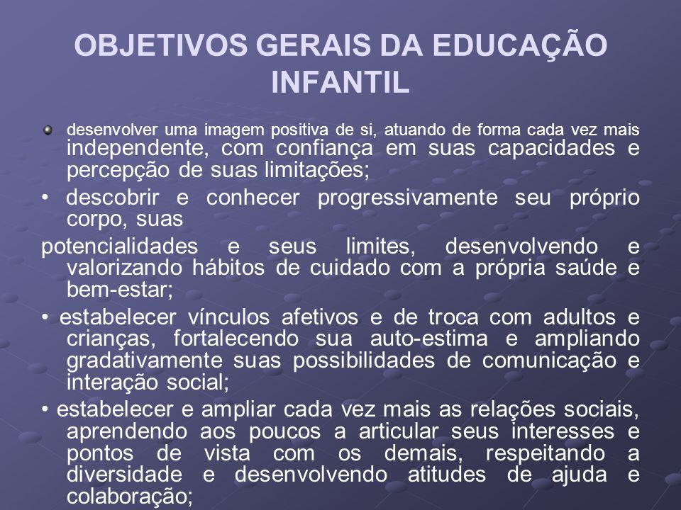 OBJETIVOS GERAIS DA EDUCAÇÃO INFANTIL