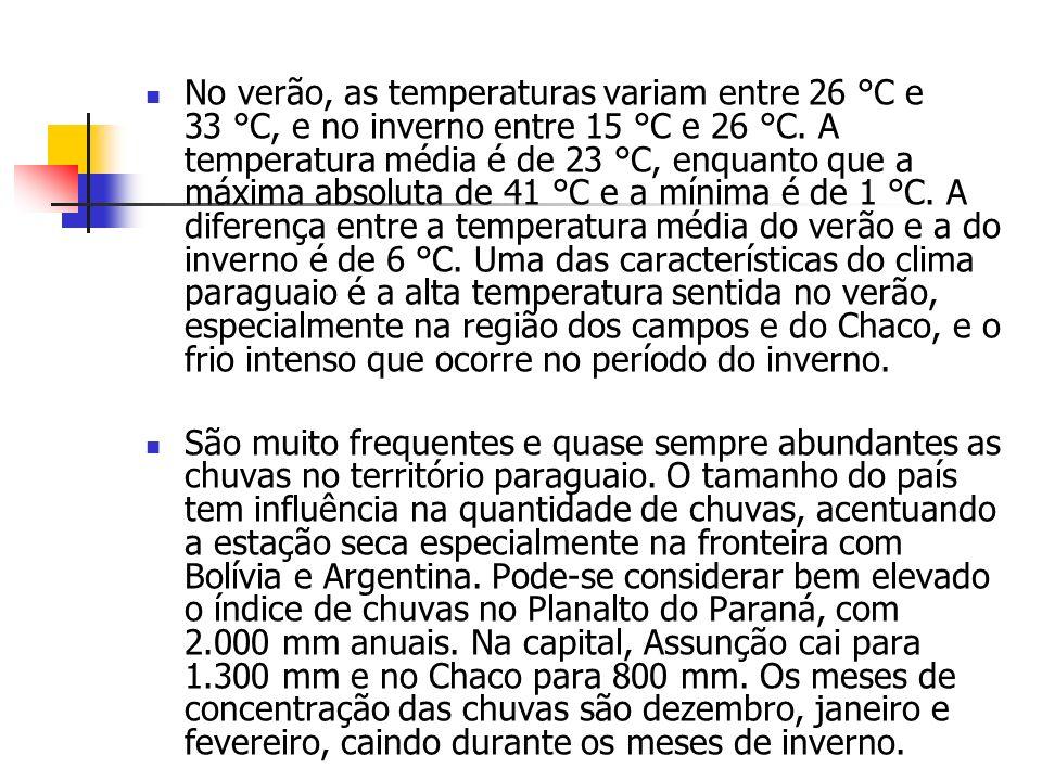 No verão, as temperaturas variam entre 26 °C e 33 °C, e no inverno entre 15 °C e 26 °C. A temperatura média é de 23 °C, enquanto que a máxima absoluta de 41 °C e a mínima é de 1 °C. A diferença entre a temperatura média do verão e a do inverno é de 6 °C. Uma das características do clima paraguaio é a alta temperatura sentida no verão, especialmente na região dos campos e do Chaco, e o frio intenso que ocorre no período do inverno.