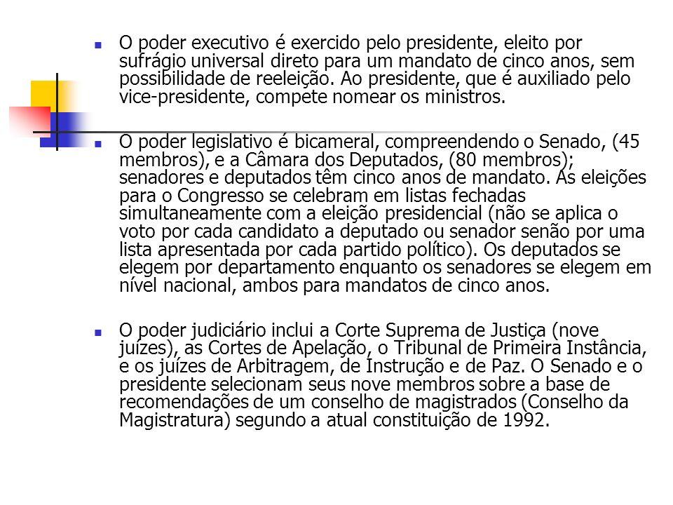 O poder executivo é exercido pelo presidente, eleito por sufrágio universal direto para um mandato de cinco anos, sem possibilidade de reeleição. Ao presidente, que é auxiliado pelo vice-presidente, compete nomear os ministros.