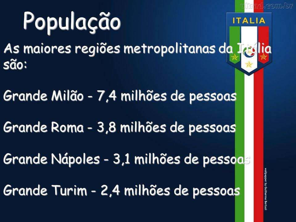 População As maiores regiões metropolitanas da Itália são: