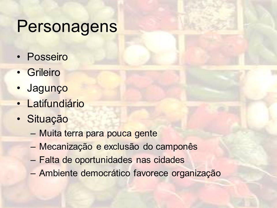Personagens Posseiro Grileiro Jagunço Latifundiário Situação