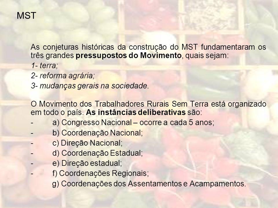 MST As conjeturas históricas da construção do MST fundamentaram os três grandes pressupostos do Movimento, quais sejam: