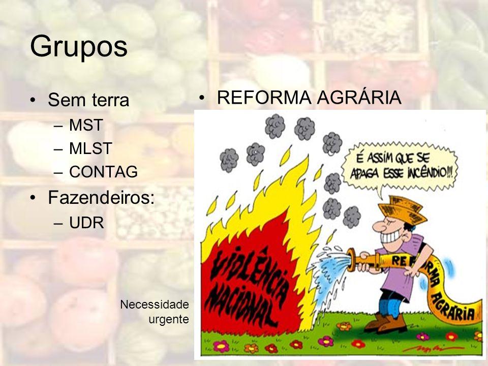 Grupos REFORMA AGRÁRIA Sem terra Fazendeiros: MST MLST CONTAG UDR
