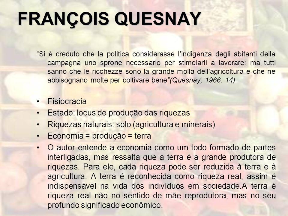 FRANÇOIS QUESNAY Fisiocracia Estado: locus de produção das riquezas