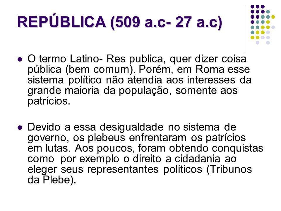 REPÚBLICA (509 a.c- 27 a.c)