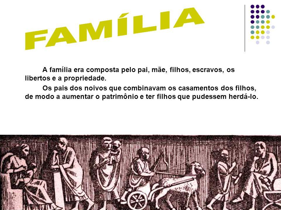 FAMÍLIA A família era composta pelo pai, mãe, filhos, escravos, os libertos e a propriedade.