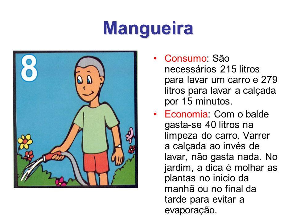 Mangueira Consumo: São necessários 215 litros para lavar um carro e 279 litros para lavar a calçada por 15 minutos.
