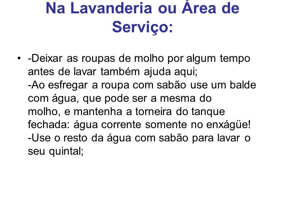 Na Lavanderia ou Área de Serviço: