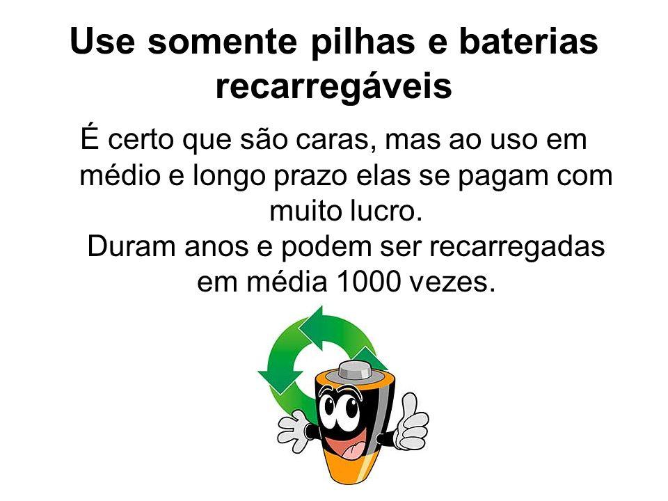 Use somente pilhas e baterias recarregáveis