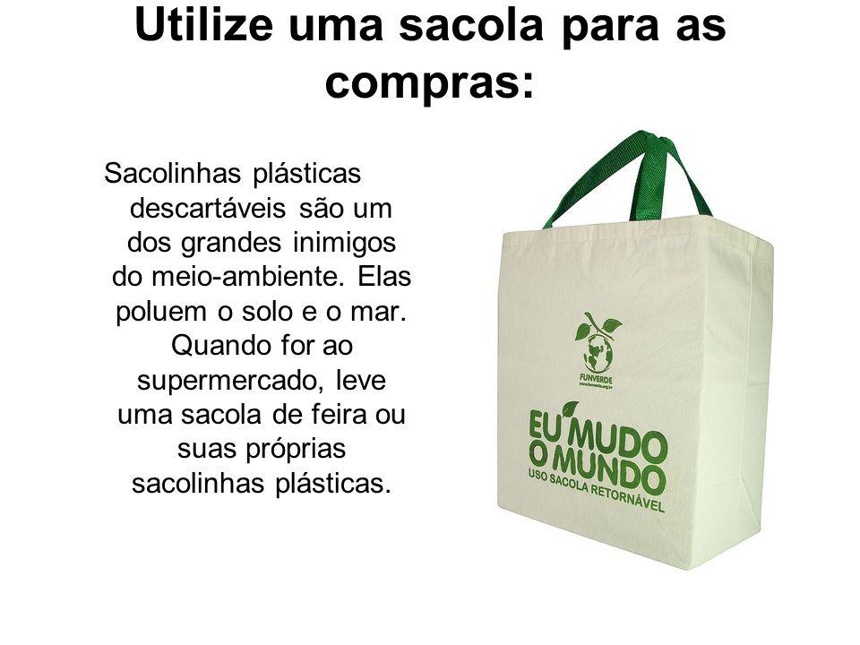 Utilize uma sacola para as compras: