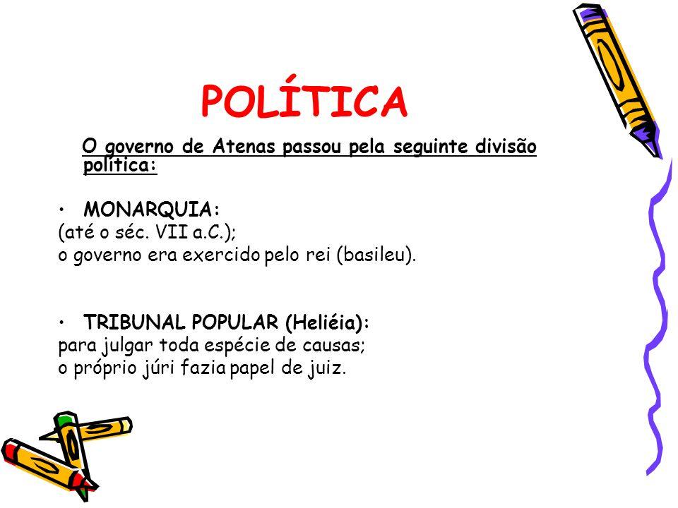 POLÍTICA O governo de Atenas passou pela seguinte divisão política: