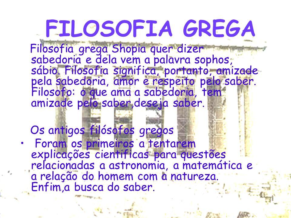 FILOSOFIA GREGA Os antigos filósofos gregos