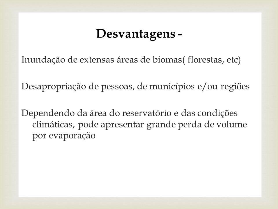Desvantagens - Inundação de extensas áreas de biomas( florestas, etc)