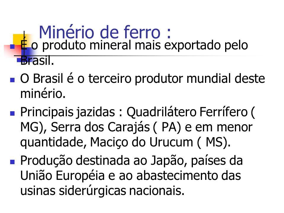 Minério de ferro : É o produto mineral mais exportado pelo Brasil.