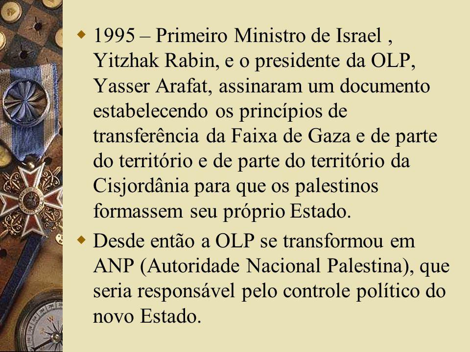 1995 – Primeiro Ministro de Israel , Yitzhak Rabin, e o presidente da OLP, Yasser Arafat, assinaram um documento estabelecendo os princípios de transferência da Faixa de Gaza e de parte do território e de parte do território da Cisjordânia para que os palestinos formassem seu próprio Estado.