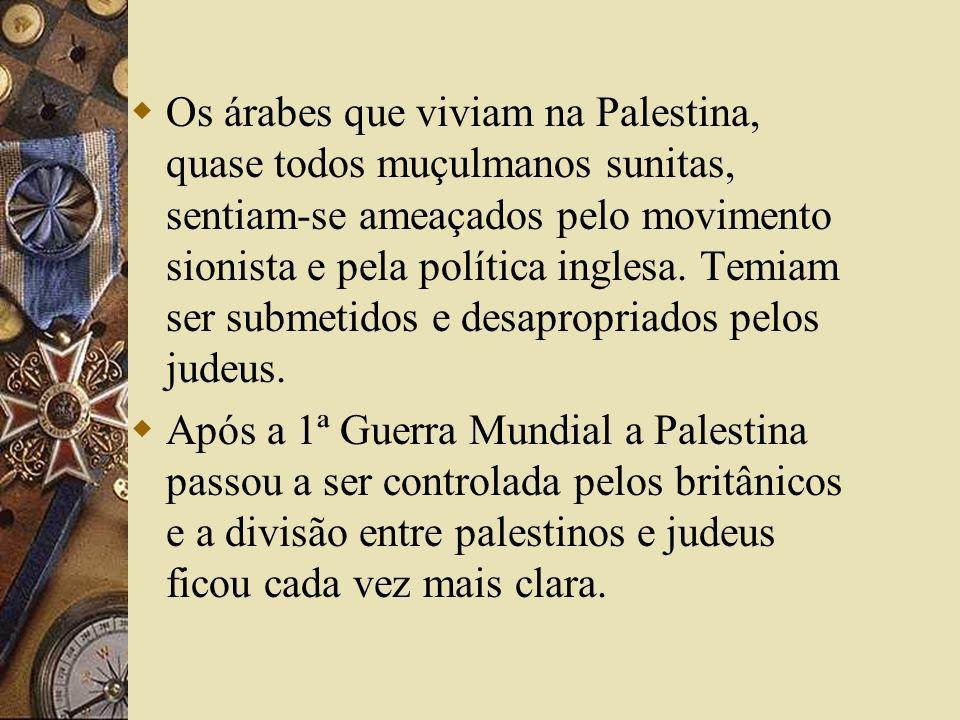 Os árabes que viviam na Palestina, quase todos muçulmanos sunitas, sentiam-se ameaçados pelo movimento sionista e pela política inglesa. Temiam ser submetidos e desapropriados pelos judeus.