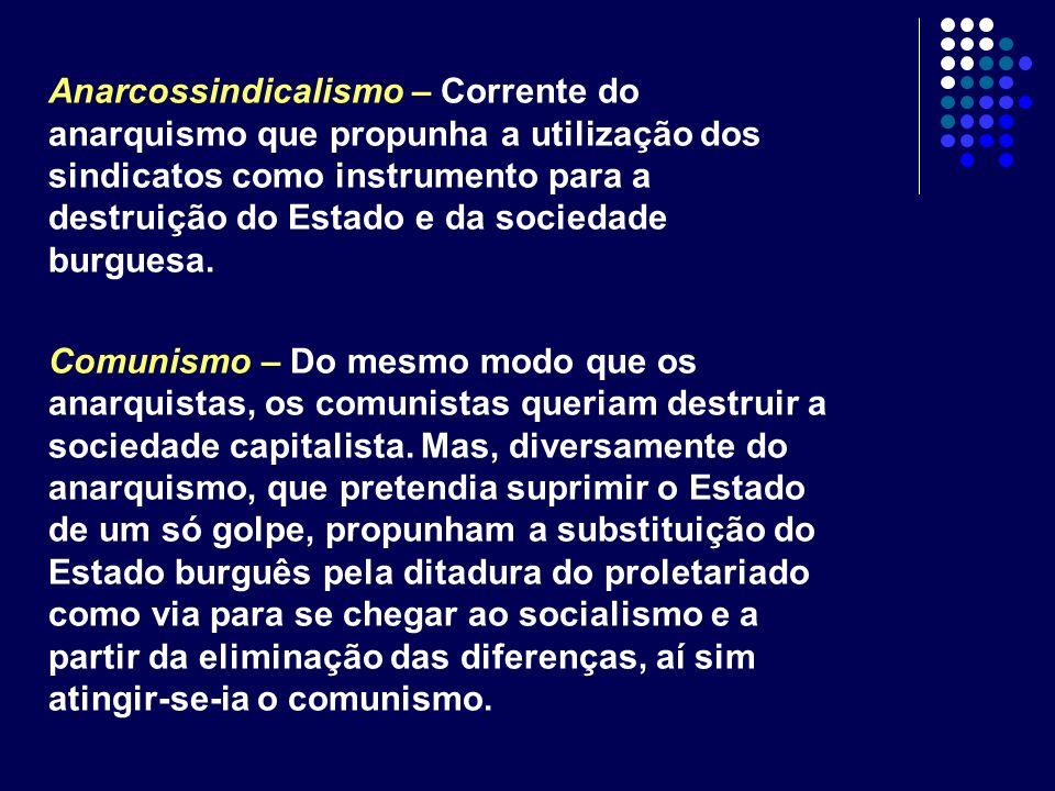 Anarcossindicalismo – Corrente do anarquismo que propunha a utilização dos sindicatos como instrumento para a destruição do Estado e da sociedade burguesa.