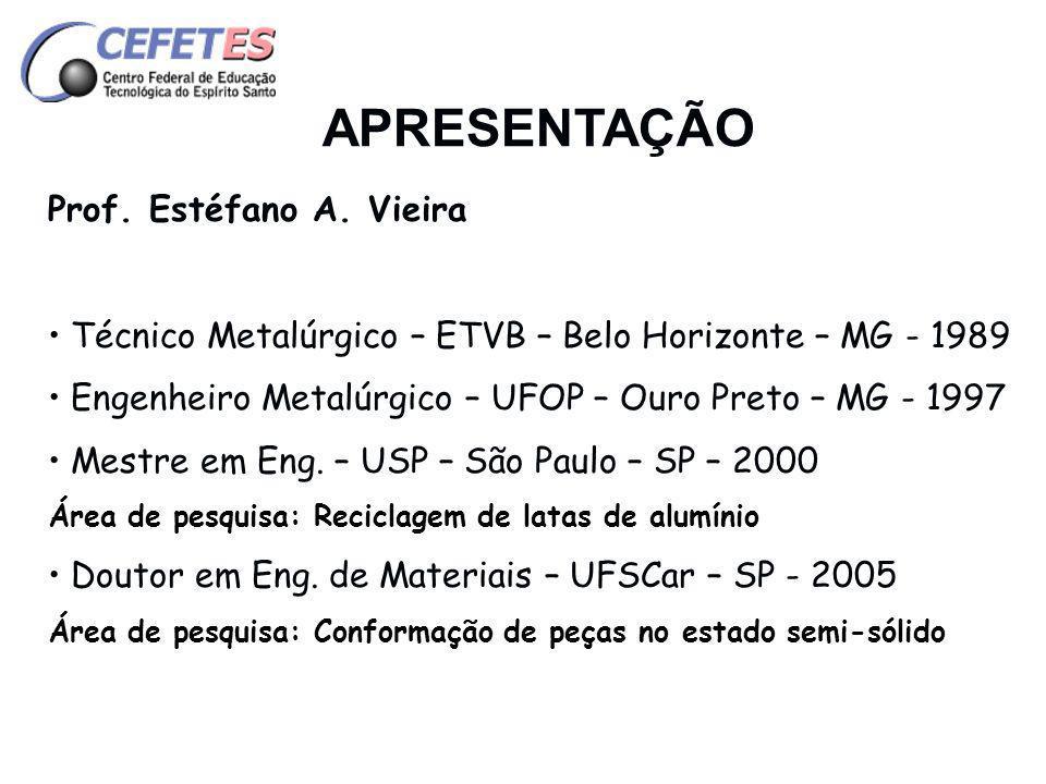 APRESENTAÇÃO Prof. Estéfano A. Vieira