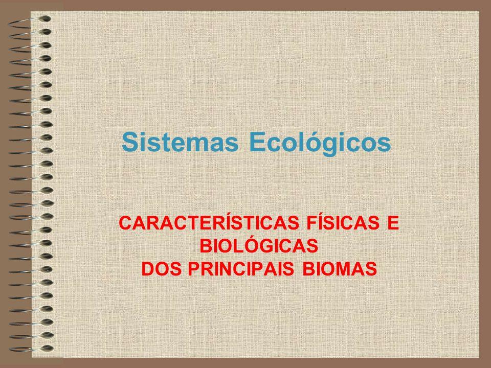 CARACTERÍSTICAS FÍSICAS E BIOLÓGICAS DOS PRINCIPAIS BIOMAS
