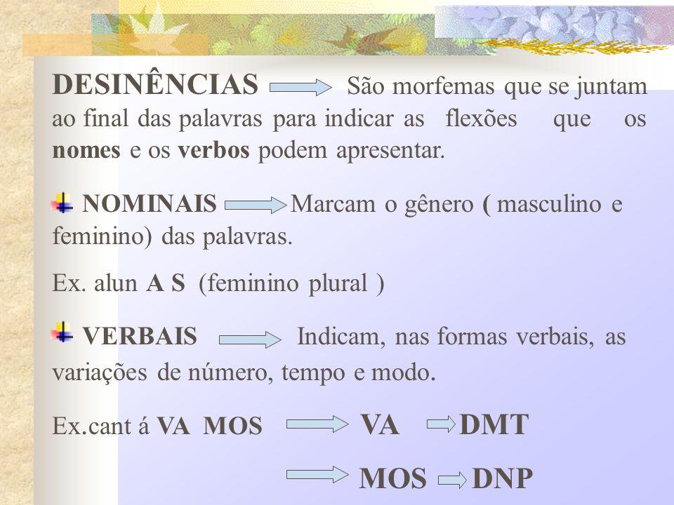 NOMINAIS Marcam o gênero ( masculino e feminino) das palavras.