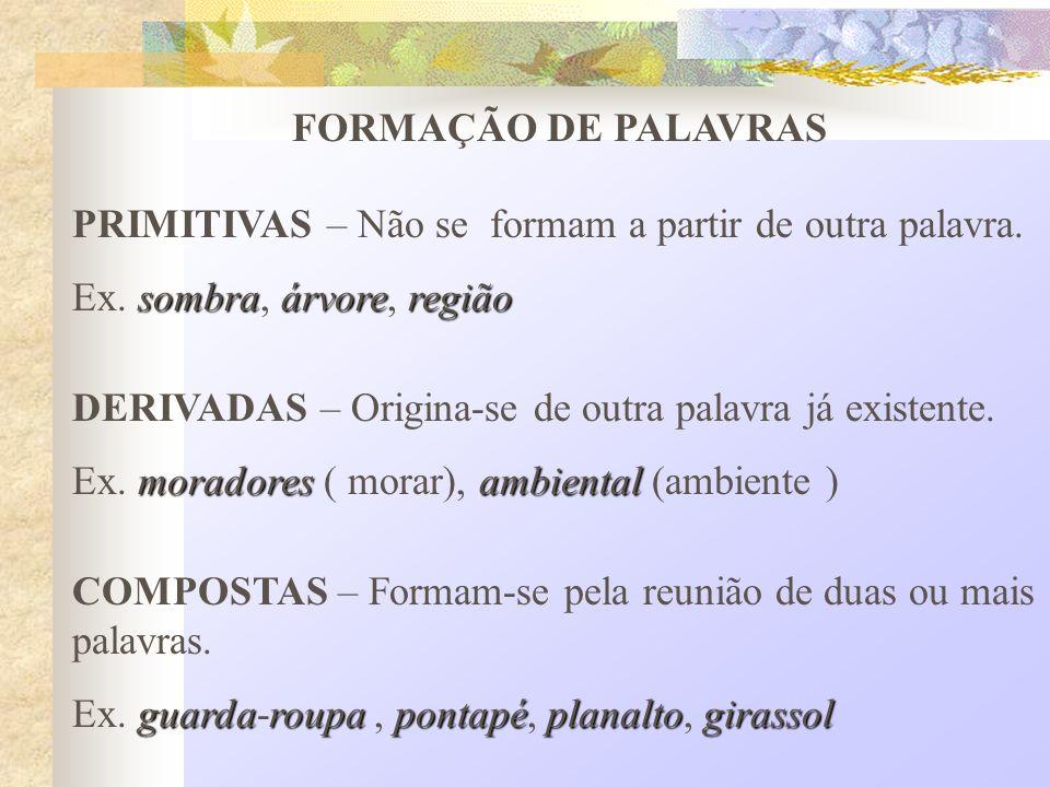 FORMAÇÃO DE PALAVRAS PRIMITIVAS – Não se formam a partir de outra palavra. Ex. sombra, árvore, região.