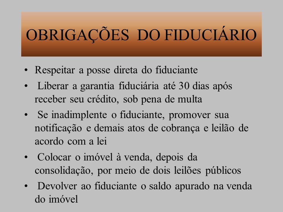OBRIGAÇÕES DO FIDUCIÁRIO