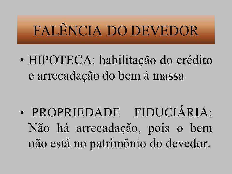 FALÊNCIA DO DEVEDOR HIPOTECA: habilitação do crédito e arrecadação do bem à massa.