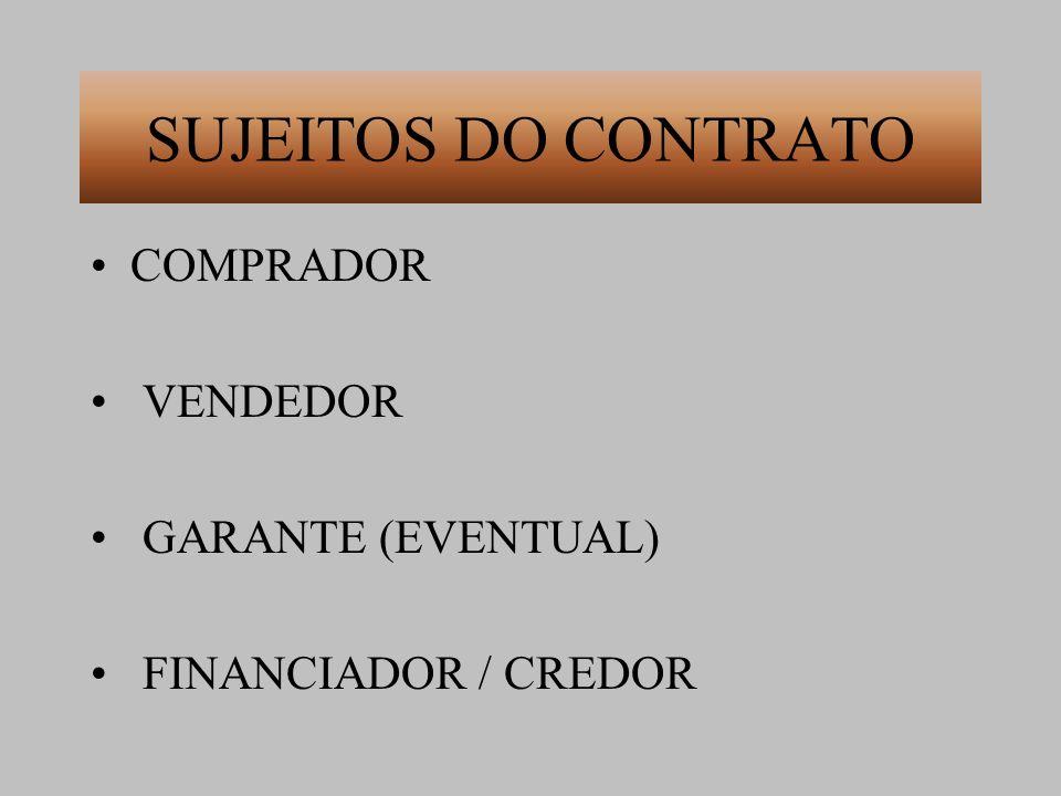 SUJEITOS DO CONTRATO COMPRADOR VENDEDOR GARANTE (EVENTUAL)