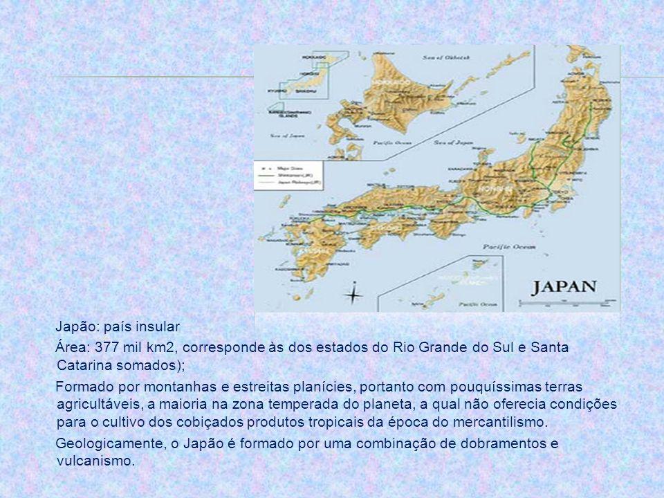 Japão: país insularÁrea: 377 mil km2, corresponde às dos estados do Rio Grande do Sul e Santa Catarina somados);