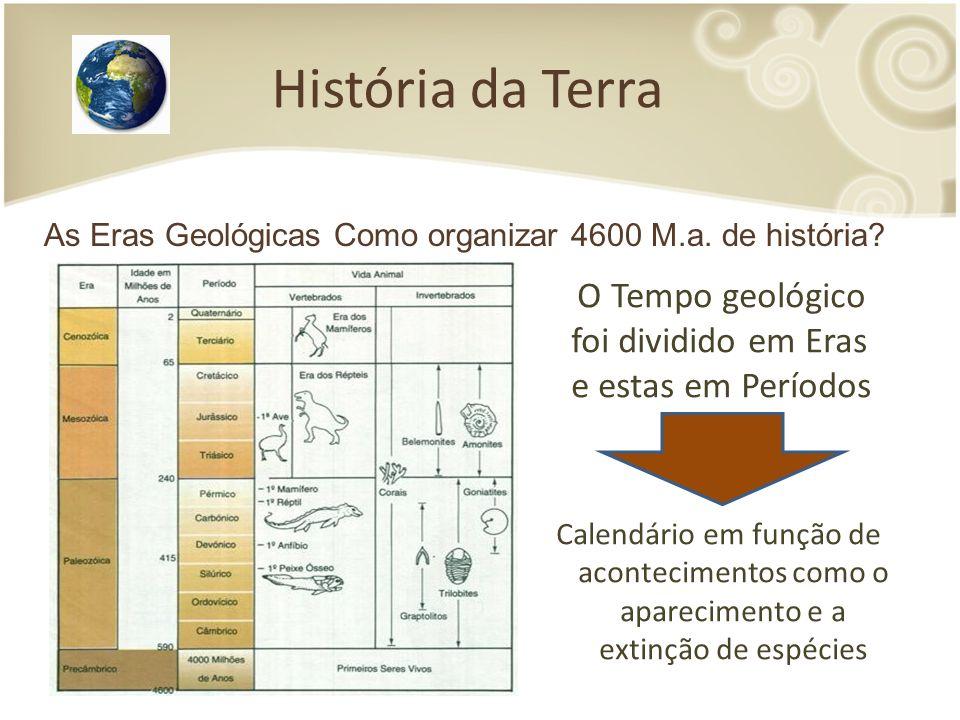 História da Terra As Eras Geológicas Como organizar 4600 M.a. de história O Tempo geológico foi dividido em Eras e estas em Períodos.