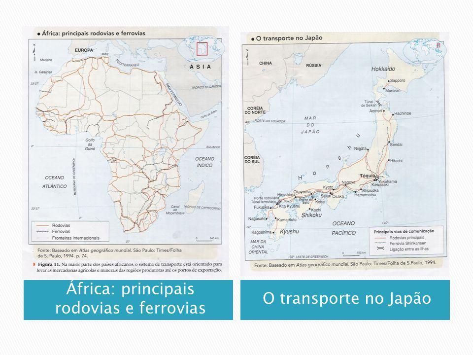 África: principais rodovias e ferrovias