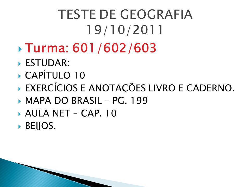TESTE DE GEOGRAFIA 19/10/2011 Turma: 601/602/603 ESTUDAR: CAPÍTULO 10