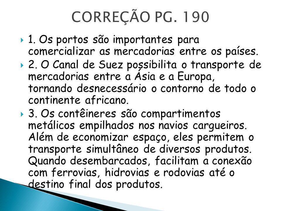CORREÇÃO PG. 190 1. Os portos são importantes para comercializar as mercadorias entre os países.