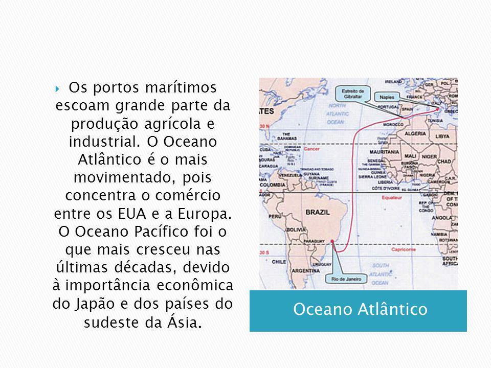 Os portos marítimos escoam grande parte da produção agrícola e industrial. O Oceano Atlântico é o mais movimentado, pois concentra o comércio entre os EUA e a Europa. O Oceano Pacífico foi o que mais cresceu nas últimas décadas, devido à importância econômica do Japão e dos países do sudeste da Ásia.