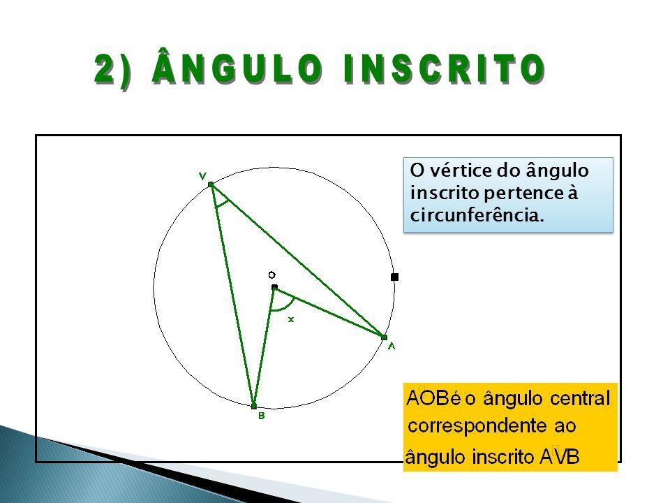 2) ÂNGULO INSCRITO O vértice do ângulo inscrito pertence à circunferência.