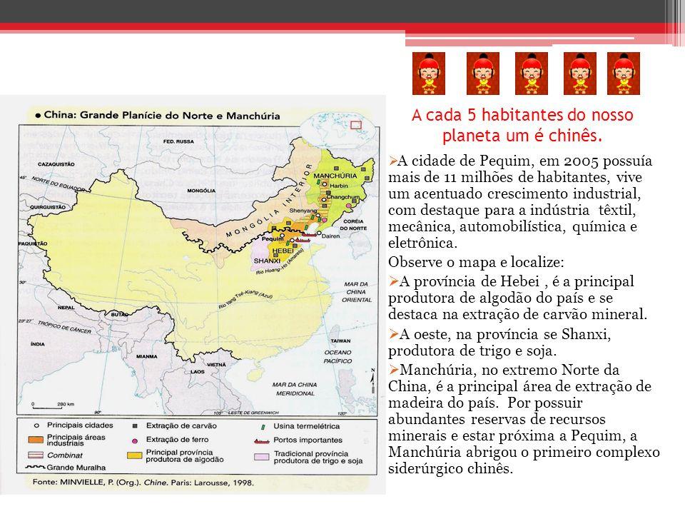 A cada 5 habitantes do nosso planeta um é chinês.