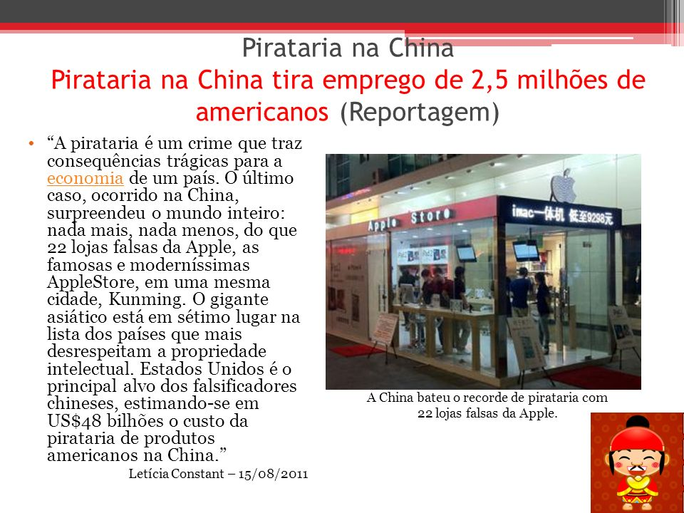 A China bateu o recorde de pirataria com