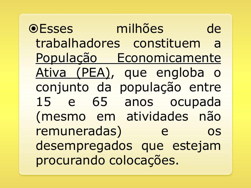 Esses milhões de trabalhadores constituem a População Economicamente Ativa (PEA), que engloba o conjunto da população entre 15 e 65 anos ocupada (mesmo em atividades não remuneradas) e os desempregados que estejam procurando colocações.
