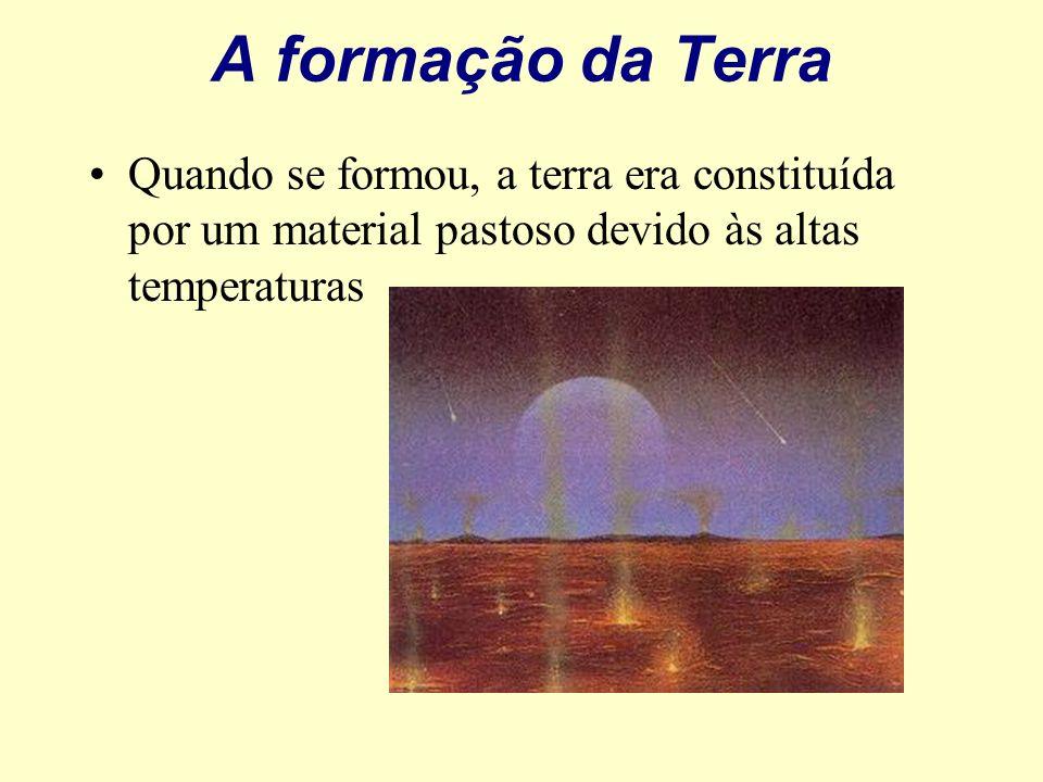 A formação da Terra Quando se formou, a terra era constituída por um material pastoso devido às altas temperaturas.