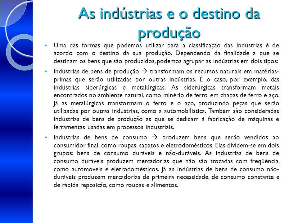 As indústrias e o destino da produção